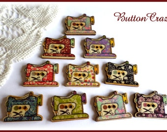 10 Wooden Sewing Machine Buttons