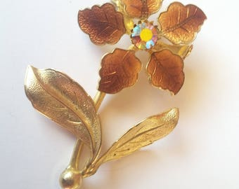 Mid century amber flower enamel brooch with gold leaves and aurora borealis rhinestone