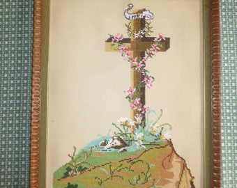 "Framed Easter Christian ""INRI"" Needlepoint Embroidery CRUCIFIX CROSS --15"" x 19"""