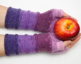 knit fingerless gloves fingerless mittens Purple Arm warmers Winter Gloves girlfriend gift for womens gift best friend gift hostess gift