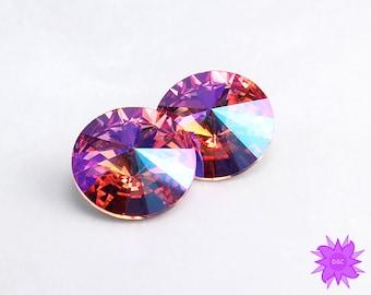 Rose Glacier Blue 14mm Swarovski Rivoli Faceted Cut Crystal Stone, Custom Coated Pink Swarovski Crystal 1122 Round Cabochon No Hole Beading