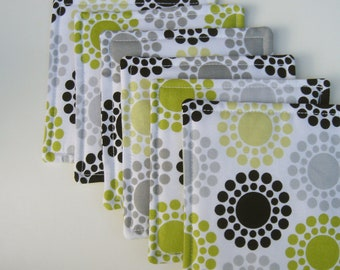Fabric Coasters Bright Green Black Gray Modern Circles, Set of Six