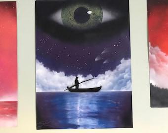 Man & the Sea - Spray Paint Art