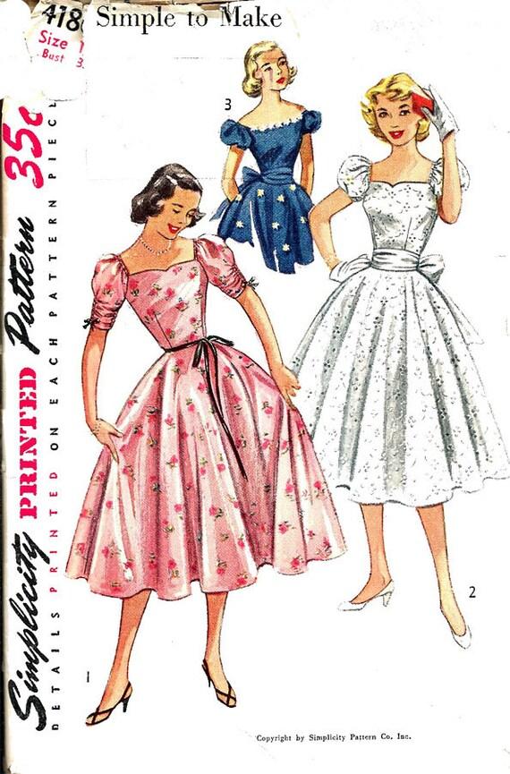Vestido de fiesta de los años 1950 Vintage patrones de costura