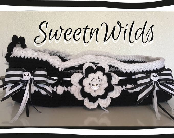 Skellington Bassinet-Photo Prob-Baby Props-Doll Bed-Moses Basket-READY TO SHIP_Pet Pillow-Halloween Prop