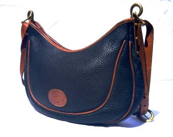 Vintage 80's Dooney & Bourke All Weather Leather Crescent Sac Purse