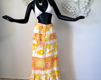 Vintage 1970s Maxi Skirt Hippie Boho Fishtail Mermaid Yellow Orange Hawaiian Hawaii Tropical Polynesian Hippie Festival Skirt  60s 70s M