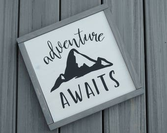 Adventure Awaits - solid wood sign, framed - rustic - mountains - gift - farmhouse decor - adventure lover - wunderlust - square