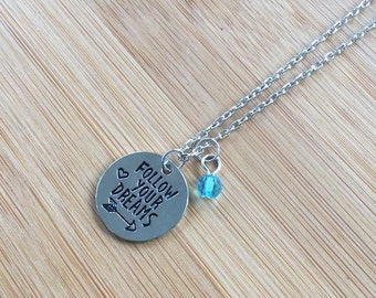 Follow Your Dreams Stamped Necklace Arrow Heart adjustable chain Inspirational round disc charm