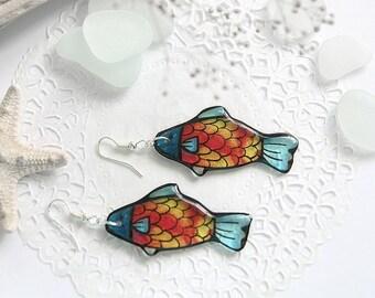 Goldfish earrings Resin jewelry for girlfriend gift Candy fish earrings Japanese koi fish jewelry Red earrings Ocean jewelry best friends