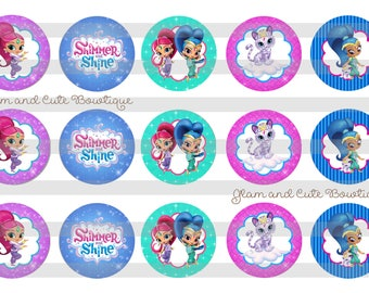 """Shimmer and Shine INSTANT DOWNLOAD Bottle Cap Images 4x6 sheet 1"""" circles"""
