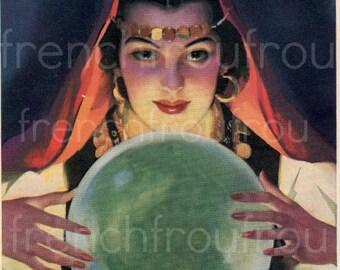 vintage illustration pinup gypsy fortune teller and crystal ball digital download