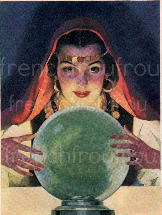 Vintage Illustration Pinup Gypsy Fortune Teller And Crystal