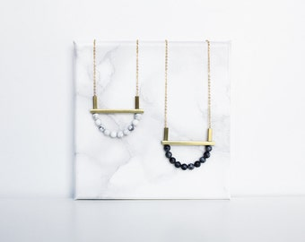 Long marble necklace - white howlite and brass / gray jasper and brass