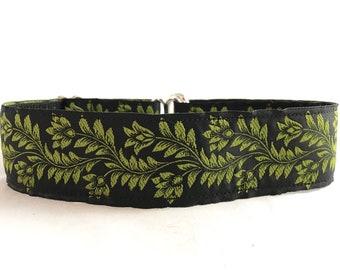 1.5'' green dog collar, woven ribbon collar, whippet collar, hound collar, martingale, large dog collar, wide collar, handmade, dog