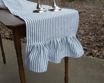 Ruffled Ticking Runner Custom Table Runner Ruffled Runner Custom Length and Fabric Wedding Decorations Table Decor French Country Cottage