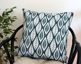 Comfortable pillow cover pillow leaves living room decoration petrol turquoise with soft back 50 x 50 cm