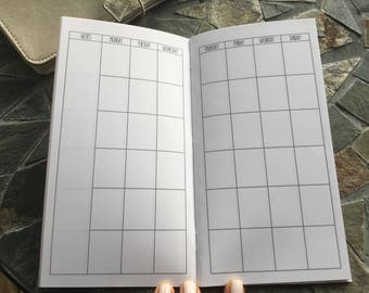 MONTHLY + HABIT Standard Travelers Notebook Inserts // Monthly Calendar// Habit Tracker //  Printed Planner