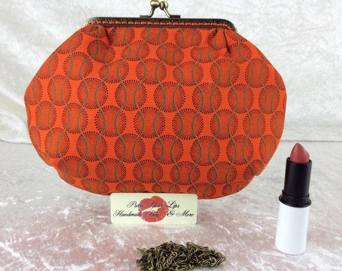 Orange Shew Shwe small frame handbag purse bag fabric clutch shoulder bag frame purse kiss clasp bag Handmade