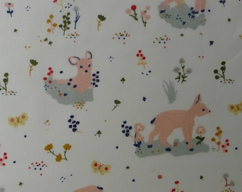 1/2 Yard Organic Cotton Fabric - Birch Fabrics Little - Little Deer Poplin