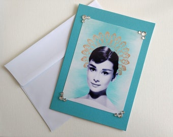 Audrey Hepburn Card- greeting card, 5x7, unique card, handmade card, blue card, rhinestone card, birthday card, vintage photo card