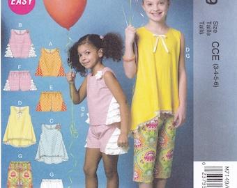 FREE US SHIP Sewing Pattern McCalls 7149 Uncut New Girls Summer Separates Wardrobe Top Pants Shorts Ruffles Size 3 4 5 6 Easy