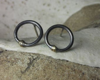 Ring studs in silver and 18kt gold