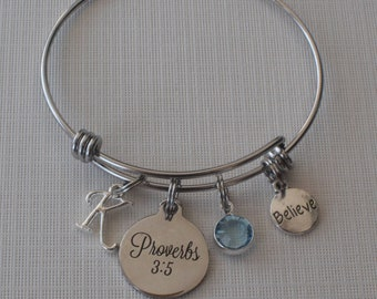 Proverbs 3:5 bracelet-Trust in the Lord with all your heart and lean not on your own understanding-Bible verse-