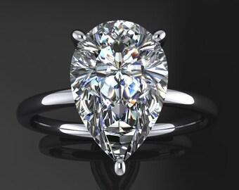 eliza ring - 3.5 carat pear cut NEO moissanite engagement ring, pear cut engagement ring