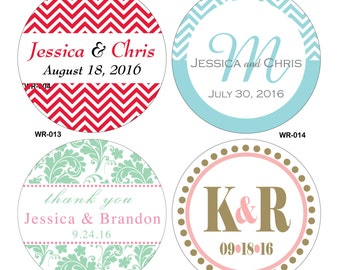 180 - 2 inch Custom Glossy Waterproof Wedding Stickers Labels - hundreds of designs to choose from - change designs to any color or wording