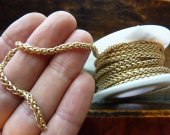 Satin gold plated brass chain by the foot