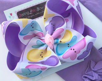 "Peep bow, Peep hairbow in pink, light purple, yellow and aqua -- choose 4-5"" or 6-7"" bow -- Large hairbow with optional headband"