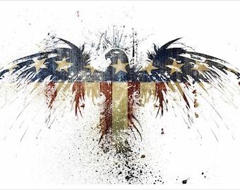 Stars & Stripes American Eagle Poster 24x36 Unique Patriotic Painted Design