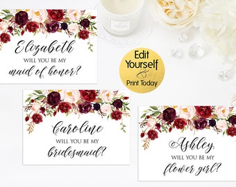 Editable Bridesmaid Card, Will You Be My Bridesmaid Card, Maid Of Honor Card, Matron Of Honor Card, Flower Girl Card, Editable PDF, W2