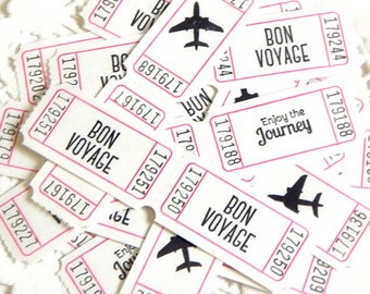Travel Themed Paper Tickets. White Tickets. Raffle Tickets. Embellishment. Scrapbook Supply. Travel Ephemera. Planner Supply. Bon Voyage.