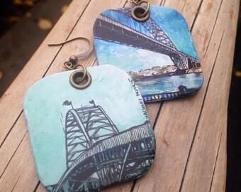 Fremont Bridge - pdx hand-painted earrings - Portland, Oregon