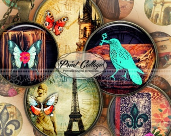 Fleur de Lis Cabochon images Digital Collage Sheet 1.5 inch 18 mm 14 mm 1 inch round Printable images Instant download Bottle Cap image c200