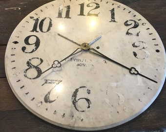"Antique  Marble Clock Face, Large at  24"", Railroad Clock"
