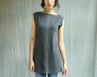 Center Lines Tunic, cotton jersey, cap sleeve, modern style- handmade to order