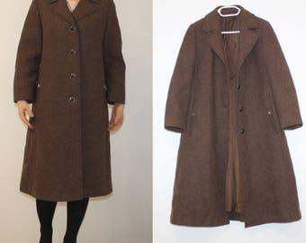 Mid Century Pure Wool Swing Coat Retro Brown Coat Womens Classical Winter Trench Preppy Pea Coat Large Tailored Midi Long Minimalist Duster