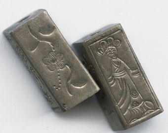 Silver embossed rectangular bead Chinese lady 20mm Pkg of 1. b18-0305(e)
