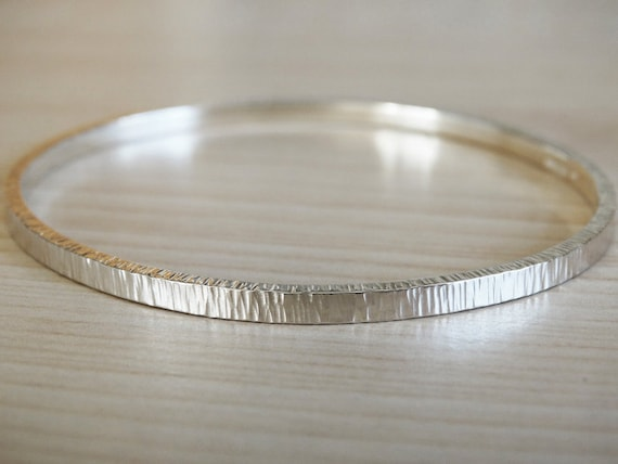 Silver Bangle - Solid Silver Textured Bangle - Sterling Silver