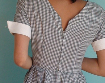 Vintage Grey and White Gingham EyeLit Dress