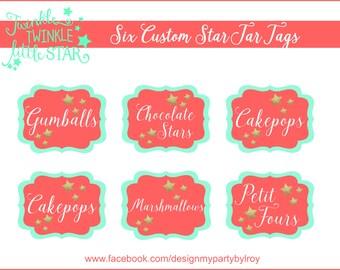 6 TWINKLE, TWINKLE, LITTLE Star Tags,Star Tags, Custom Digital Tags, Baby Shower Jars,Wedding Tags, Candy Tags, Food Tags, Buffet Tags.