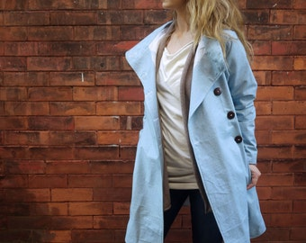 Women's Robins Egg Blue Asymmetrical Long Maxi Coat Jacket with Pockets|Plus Size Coat|Lined Coat|Fitted Coat|Vintage Jacket|Collared Coat