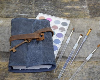 Leather Journal with watercolor paper Blue with Key