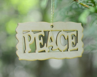 Natural Wood Peace Word Ornament