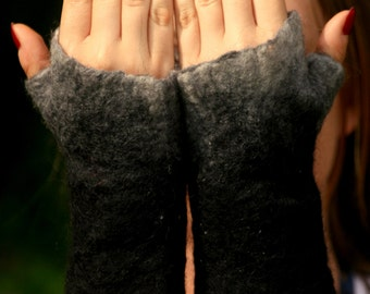 Felted mittens - wool mittens - pixie mittens - felt arm warmers - fairy arm warmers- felted fingerless gloves