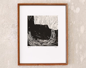 uncertain place 19 · original linocut on paper · handmade and signed · limited