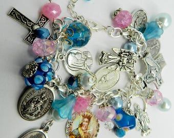 Religious Catholic Charm Bracelet  Virgin Mary Saints Beaded Holy Medal Bracelet
